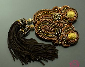 brown tassel earrings soutache earrings brown earrings gold earrings boho earrings long fringe earrings romantic earrings evening earrings