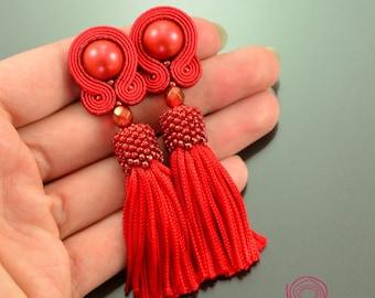 Red tassel earrings, red soutache earrings, red dangle earrings, clip on soutache, cute unique earrings, red boho earrings, short red tassel