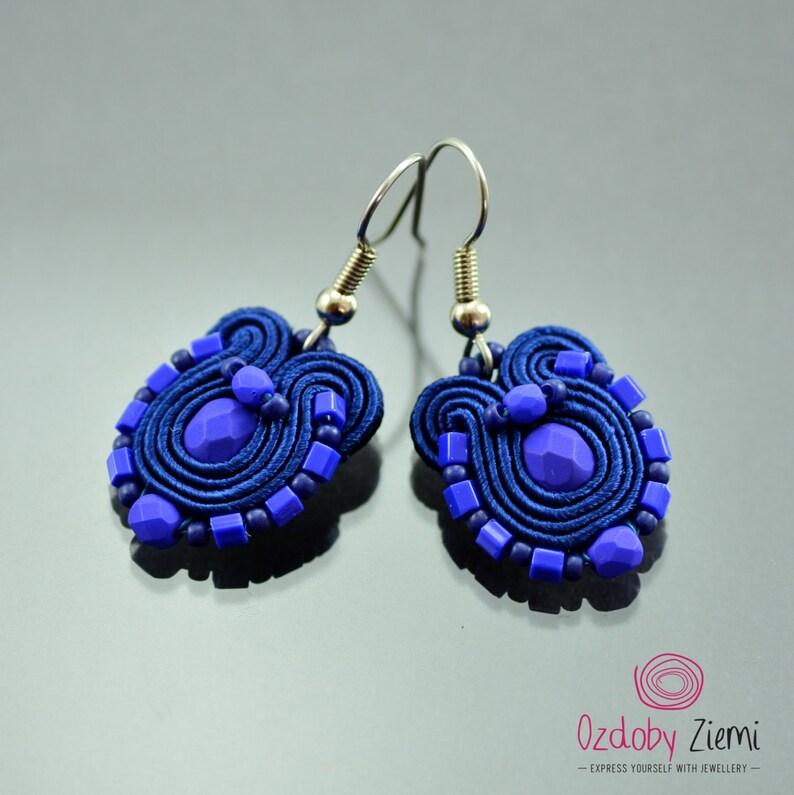Small Ethnic Earrings Orecchini Sutache Navy Blue Soutache Earrings Blue Soutache Jewelry Small Blue Soutache Earrings Humming-bird