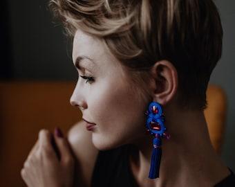 Gorgeous hot pink cobalt tassel earrings, cobalt fuchsia earrings, long blue pink soutache earrings, cobalt blue clip-on earrings big