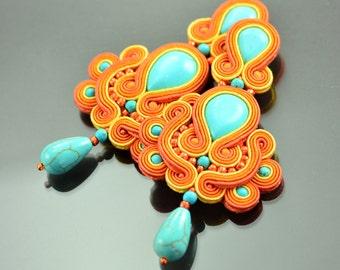 Clip on earrings, turquoise earrings, orange earrings, soutache earrings, long blue earrings, gipsy earrings, chandelier earrings, gift idea