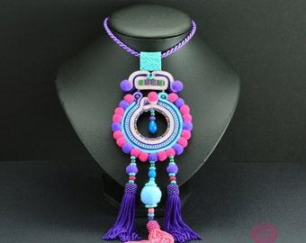 Colorful pom pom necklace, tassel necklace, soutache necklace Berwarna, Boho Soutache Jewelry, boho fringe necklace, long colorful necklace
