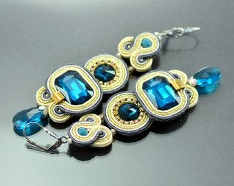 Long blue earrings, soutache earrings, sparkling earrings, long dangle earrings, long earrings blue, elegant earrings, gold stylish jewelry