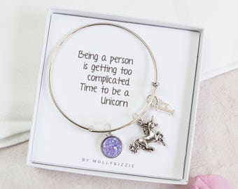 Unicorn Bangle, Charm Bracelet, Silver Bangle, Personalised Unicorn Jewellery, Best Friend Gift, Unicorn Theme, Birthday Gift