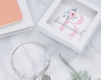 Personalised Bridesmaid Thank You Gift, Charm Bracelet