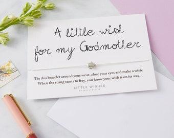 Wish bracelet gift for godmother, Godmother gift