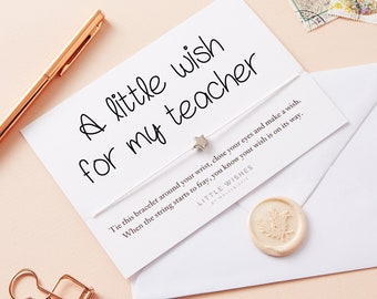 wish bracelet, teacher appreciation gift, teacher thank you