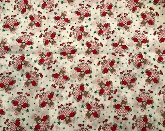 "FQ Orange Red Multi Hearts Flowers Fabric Poly-cotton Remnant 22"" X 18"""