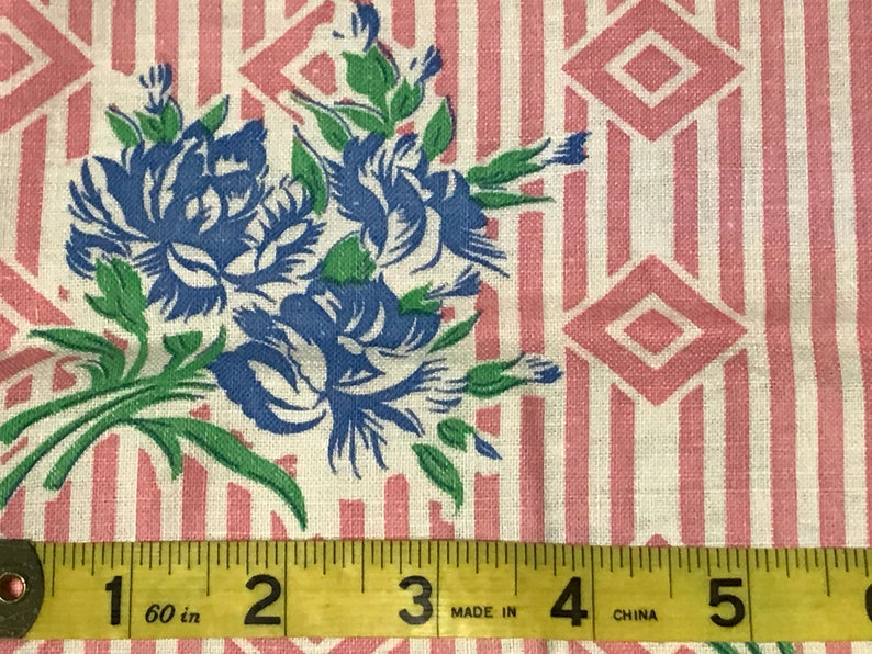 Rural Estate Quilter/'s Stash Happy Hoarder Vintage 1940/'s Blue Green Roses Pink Stripe Cotton Feed sack Bag Fabric 37x 43
