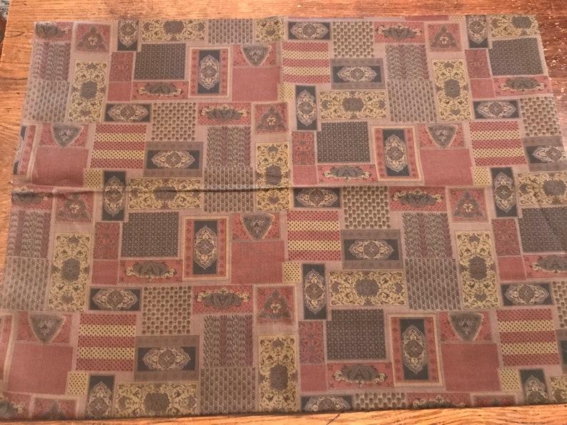 Rural Estate Seamstress Stash Kira/'s Revenge Vintage 1960/'s Deep Gold Red Black Taupe Geometric Cotton Shirting Fabric 44x 58