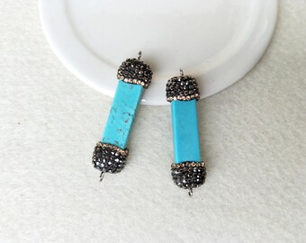 10 pcs Natural rectangle Turquoise Connector with rhinestone crystal Double Bails Turquoise Bar  Connector Gemstone Jewelry  Making ,CT111