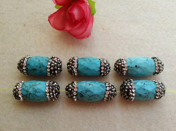 10 pièces à facettes cylindre Nature Druzy Turquoise avec connecteur de Pierre de strass, perles intercalaires, Drusy pierres précieuses perles bijoux fabrication BD02