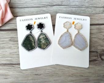 3 pairs  Drusy Natural Agate earrings,Paved Rhinestone crystal Earrings ,druzy gemstone earrings, with stud earings ER499