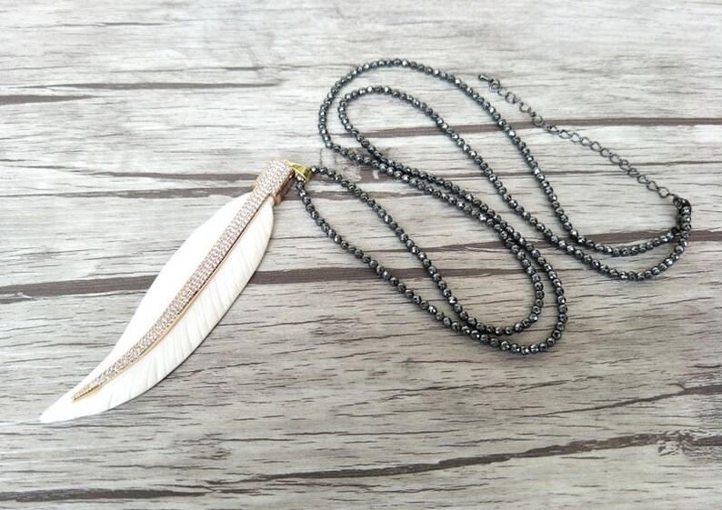 3 Strands Hematite beads necklace Unique leaf ox bone Pendant,CZ zircon Micro pave crystal Charm Boho necklaces for women NK156