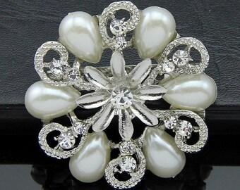 5 pcs Bling Bridal Brooch Embellishments Rhinestone Brooch Crystal Brooch Wedding Brooch Bouquet  Hair Comb Shoe Clip Craft Supplies Ad096