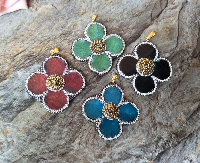 5pcs Natural agate geode Flower Drusy agate pendant rhinestone crystal Paved Gems Stone charms,Jewelry Necklace Making PD622