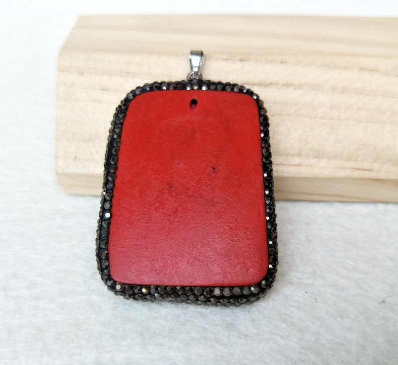 5 pieces Pave Rhinestone Crystal Cinnabar stone Buddha head Charms Pendants Jewelry For Necklace Jewelry Finding PD865