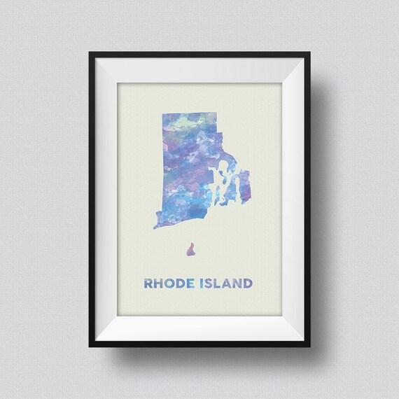Rhode Island Watercolor Map USA Art Print Rhode Island Ink