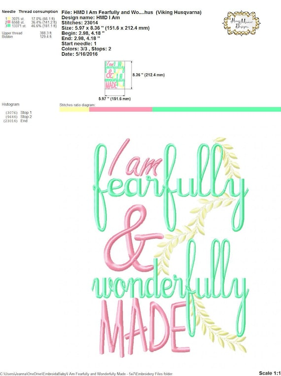 I Am Fearfully And Wonderfully Made 4x4 5x7 6x10 Machine