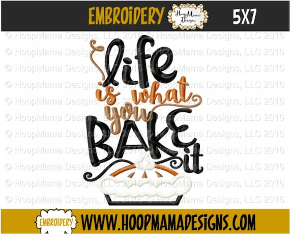 Kitchen Towel Embroidery Design Life Is What You Bake It Etsy
