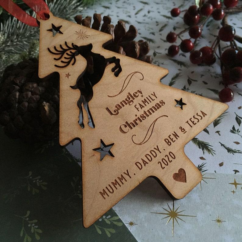 Reindeer Christmas Decoration Personalised Reindeer Engraved Christmas Tree  Family Wood  Xmas Decoration Christmas Ornament