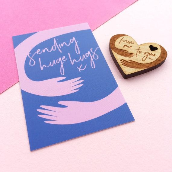 isolation gift miss you pocket hug thinking of you Heart necklace \u2018socially distanced hug\u2019 optional personalised card quarantine gift