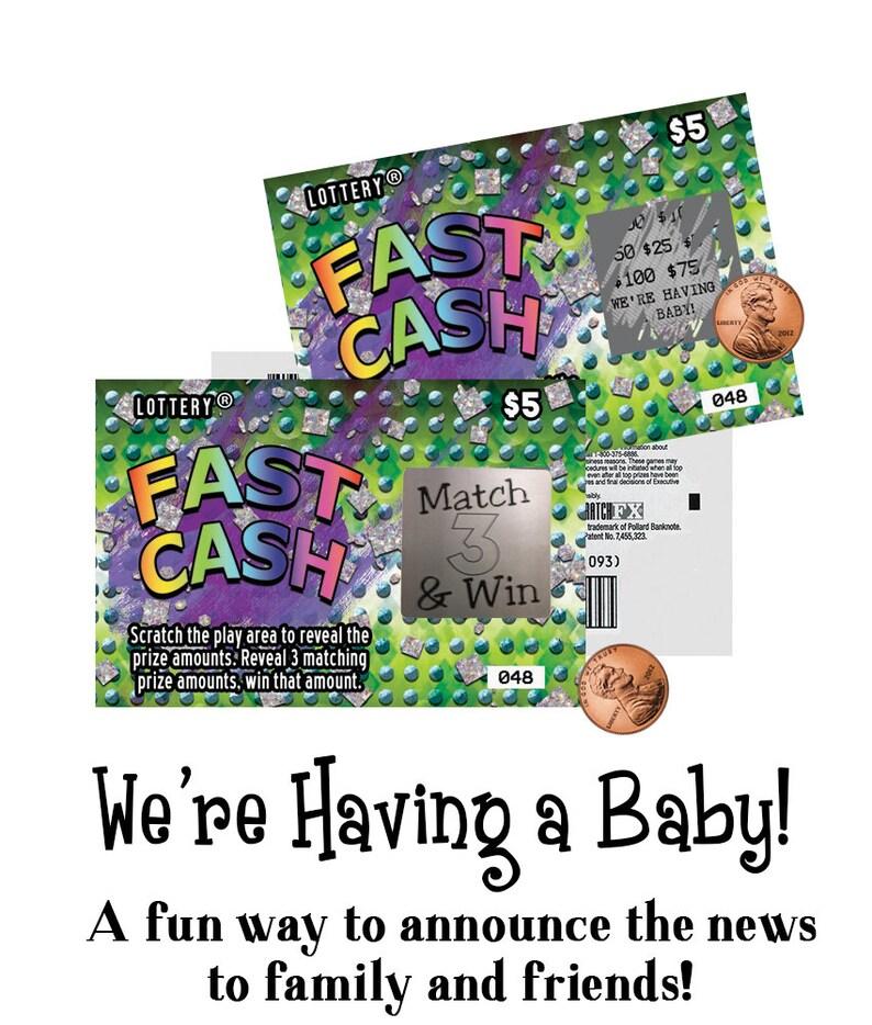 pregnancy announcement cards, scratch off pregnancy announcement cards,  scratch off tickets, scratch off lotto replica