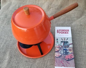 Retro Orange Fondue Set with Forks
