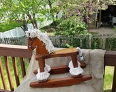 Small Vintage Wooden Rocking Horse  Collectable Clydesdale Style  Vintage Riding Toy