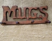 Wooden Carved Mug Rack