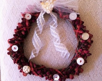 Dried Rosebud Wreath With Vintage Buttons And Lace Ribbon