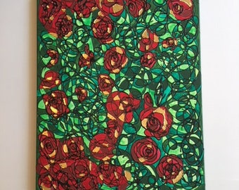 Red Roses Hand Painted Acrylic On Canvas With Gold Leaf
