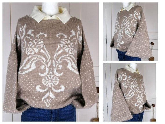 Brown patterned knit sweater UK 10 12 14 80s novel