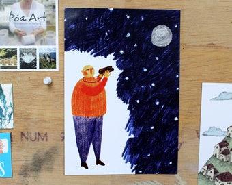 A5 Star Gazing Print
