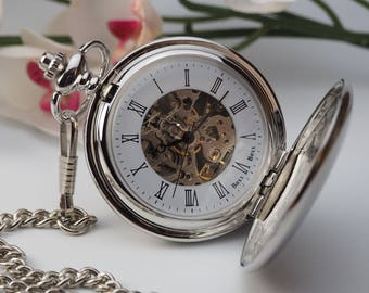 Roman Numeral Personalised Pocket Watch - Skeleton Full Hunter Engraved Pocket Watch - Silver Colour - Gift Boxed - PW-2-M-ROM