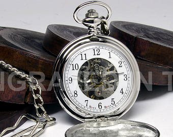 Engraved Skeleton Pocket Watch - Arabic Numeral Pocket Watch Personalized - Silver Colour - Gift Boxed - PW-1-M-ARB