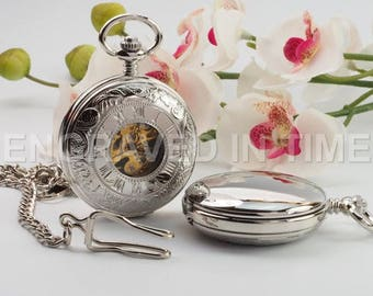 Engraved Skeleton Pocket Watch – Personalised Roman Numeral Pocket Watch Silver Colour - Gift Boxed - PW-17-M