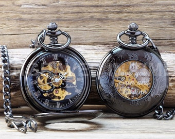 Glass Engraved Skeleton Pocket Watch - Mens Pocket Watch - Roman Numerals Personalized Black - Velvet Gift Pouch - PW-4-G