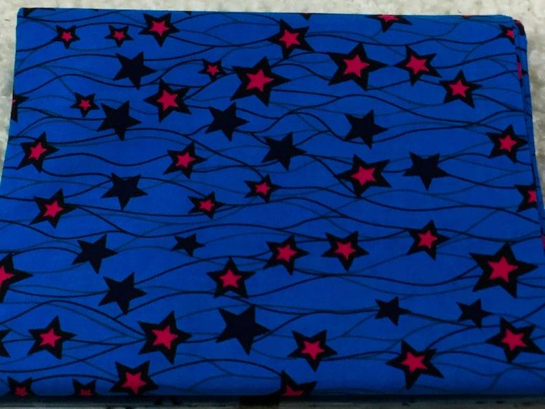 Fabric by Half a yard Supreme Wax a yard or Whole Sale African Fabric Wax Print Dutch Wax Blue and Pink Stars Cotton Fabric Ankara