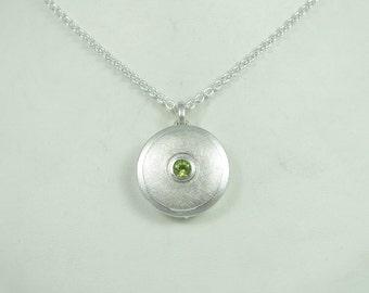 Silver Locket 'Concentric', Pendant, Photo Locket, Green Peridot, Round, Keepsake