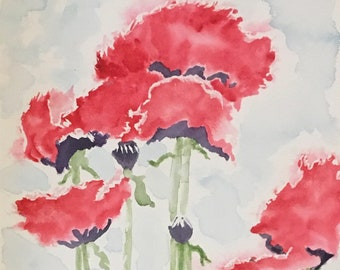 Red Poppy Greeting Card, Mothers Day Card, Impressionist Watercolor Flowers Card, Red Flower Greeting Card, Happy Greetings, Uplifting Cards