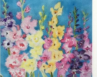 Summer Flowers Blank Note Card, Watercolor Flower Art Card, Detailed Watercolor Flower Card, Multicolored Flower Card, Flower Lover Art Card