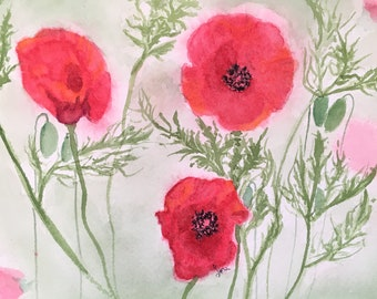 Bold Red Poppy Watercolor Art Print, Detailed Poppy Art Ready To Frame, Fine Art For Your Wall,Red Poppy Wall Art, Matted Original Art Print