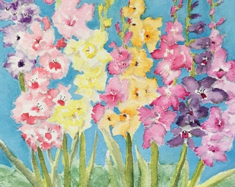 Cheerful Flower Fine Art Print, Art to Make You Happy, Gladiolus Original Watercolor Art Print, Rainbow Color Flower Art Print, Bright Art