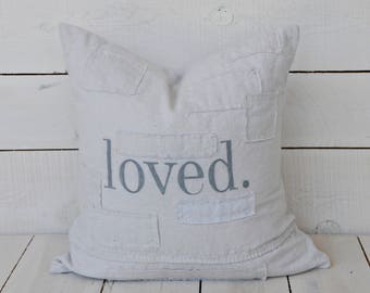 loved. grain sack style pillow cover. available in 16x16, 18x18, 20x20, 16x24 and 16x26. patches are optional.