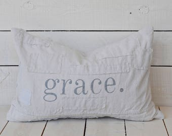 grace. grain sack style pillow cover. available in 16x16, 18x18, 20x20, 16x24 and 16x26. available with or without patches