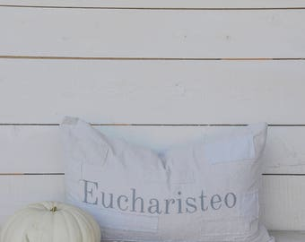 Eucharisteo grain sack style pillow cover. Available in 16x16, 18x18, 20x20, 16x25 and 16x24