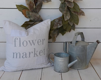 flower market grain sack style pillow cover. available in 16x16, 18x18, 20x20, 16x24 and 16x26. available with or without patches