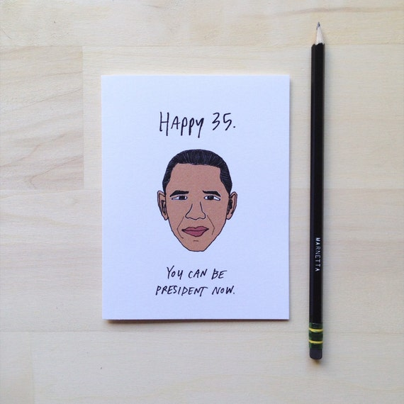 Obama Birthday Card Etsy