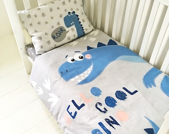 Cot Bed Duvet Cover and Pillowcase Bed Set 100/% Cotton Bedding for Boys and Girls 90 x 120 cm, Blue Cars